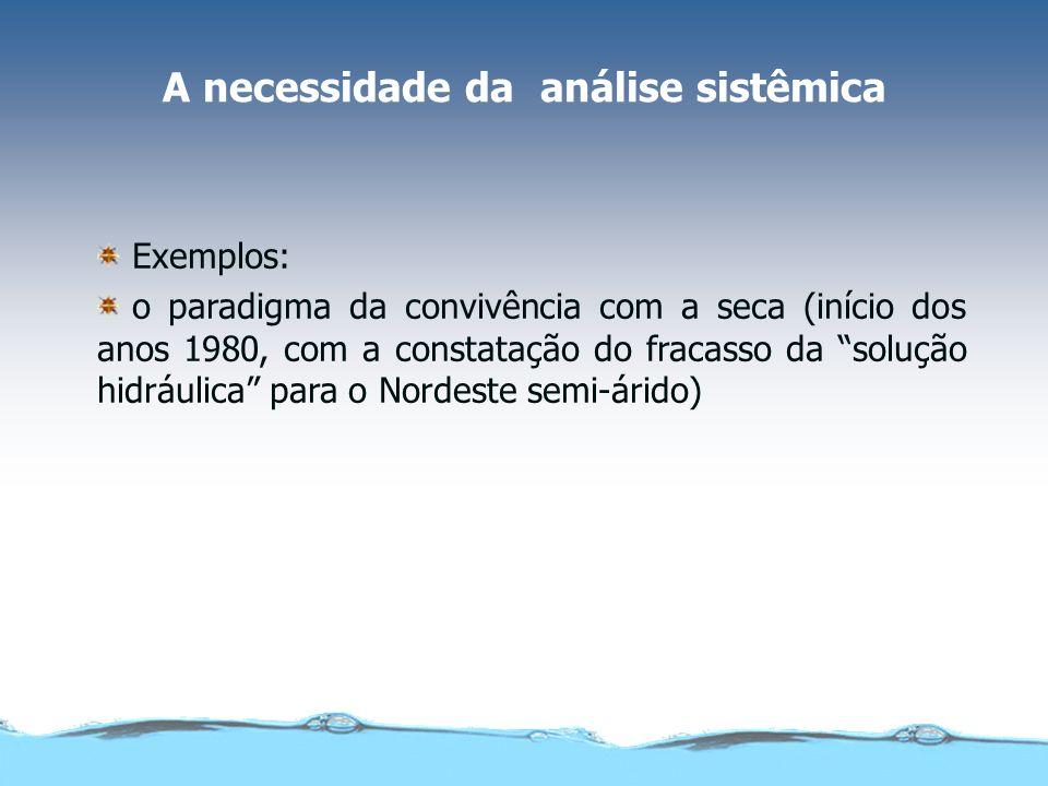 A necessidade da análise sistêmica Exemplos: o paradigma da convivência com a seca (início dos anos 1980, com a constatação do fracasso da solução hid