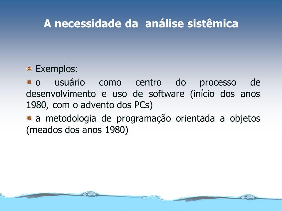 A necessidade da análise sistêmica Exemplos: o usuário como centro do processo de desenvolvimento e uso de software (início dos anos 1980, com o adven
