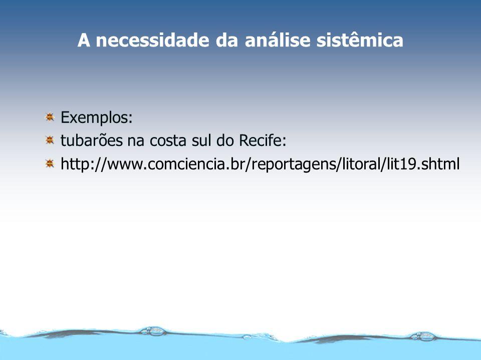 A necessidade da análise sistêmica Exemplos: tubarões na costa sul do Recife: http://www.comciencia.br/reportagens/litoral/lit19.shtml