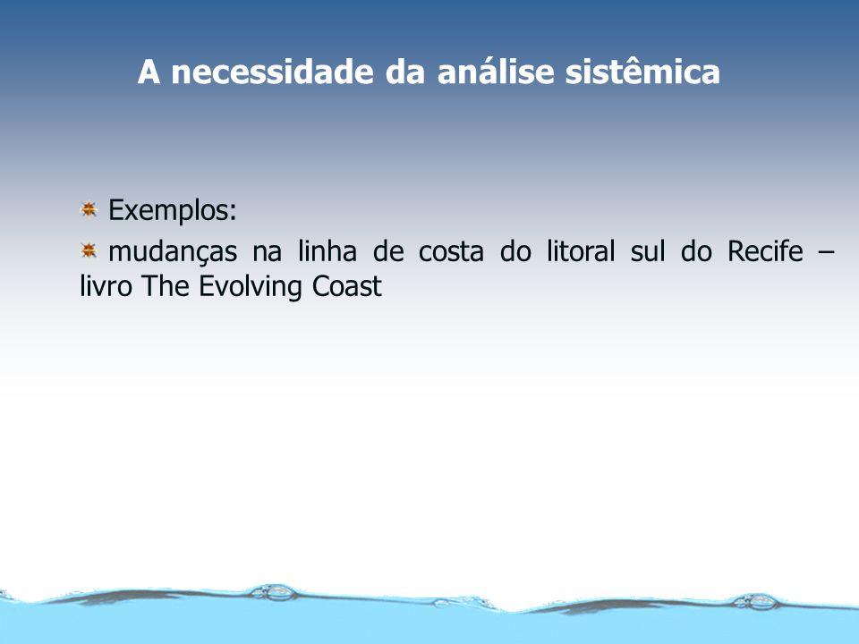 A necessidade da análise sistêmica Exemplos: mudanças na linha de costa do litoral sul do Recife – livro The Evolving Coast