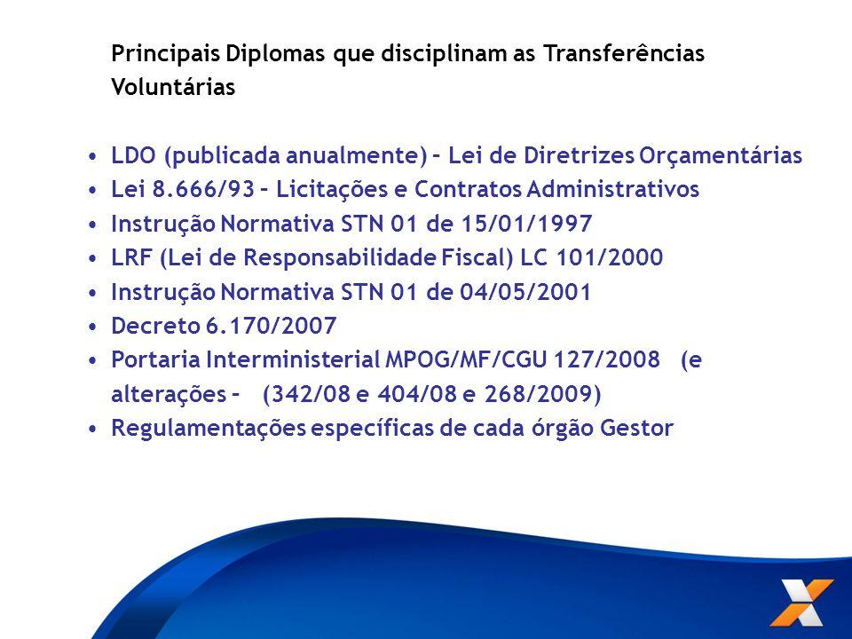 Principais Diplomas que disciplinam as Transferências Voluntárias LDO (publicada anualmente) – Lei de Diretrizes Orçamentárias Lei 8.666/93 – Licitaçõ