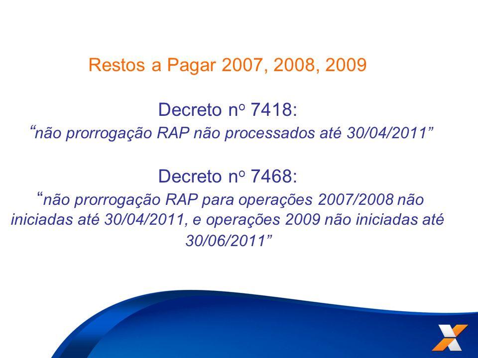 Restos a Pagar 2007, 2008, 2009 Decreto n o 7418: não prorrogação RAP não processados até 30/04/2011 Decreto n o 7468: não prorrogação RAP para operaç