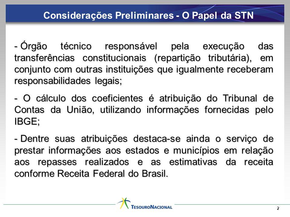 2 - Órgão técnico responsável pela execução das transferências constitucionais (repartição tributária), em conjunto com outras instituições que igualm