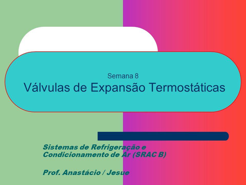 Semana 8 Válvulas de Expansão Termostáticas Sistemas de Refrigeração e Condicionamento de Ar (SRAC B) Prof. Anastácio / Jesue