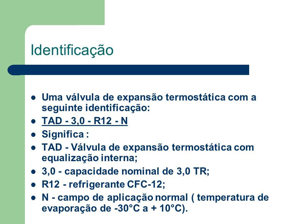 Identificação Uma válvula de expansão termostática com a seguinte identificação: TAD - 3,0 - R12 - N Significa : TAD - Válvula de expansão termostátic