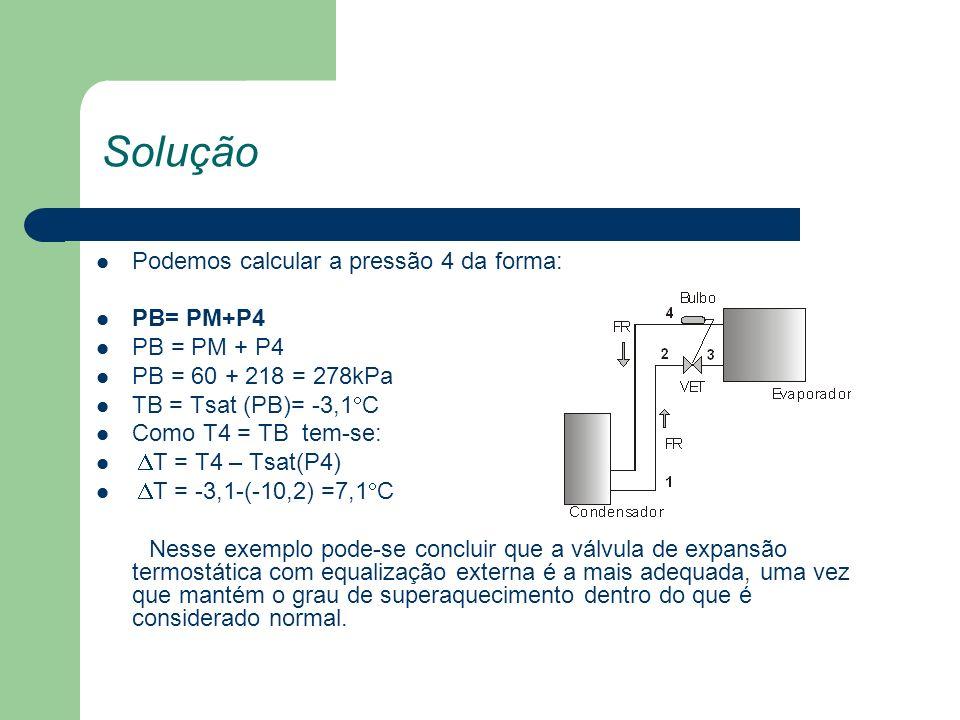 Solução Podemos calcular a pressão 4 da forma: PB= PM+P4 PB = 60 + 218 = 278kPa TB = Tsat (PB)= -3,1 C Como T4 = TB tem-se: T = T4 – Tsat(P4) T = -3,1