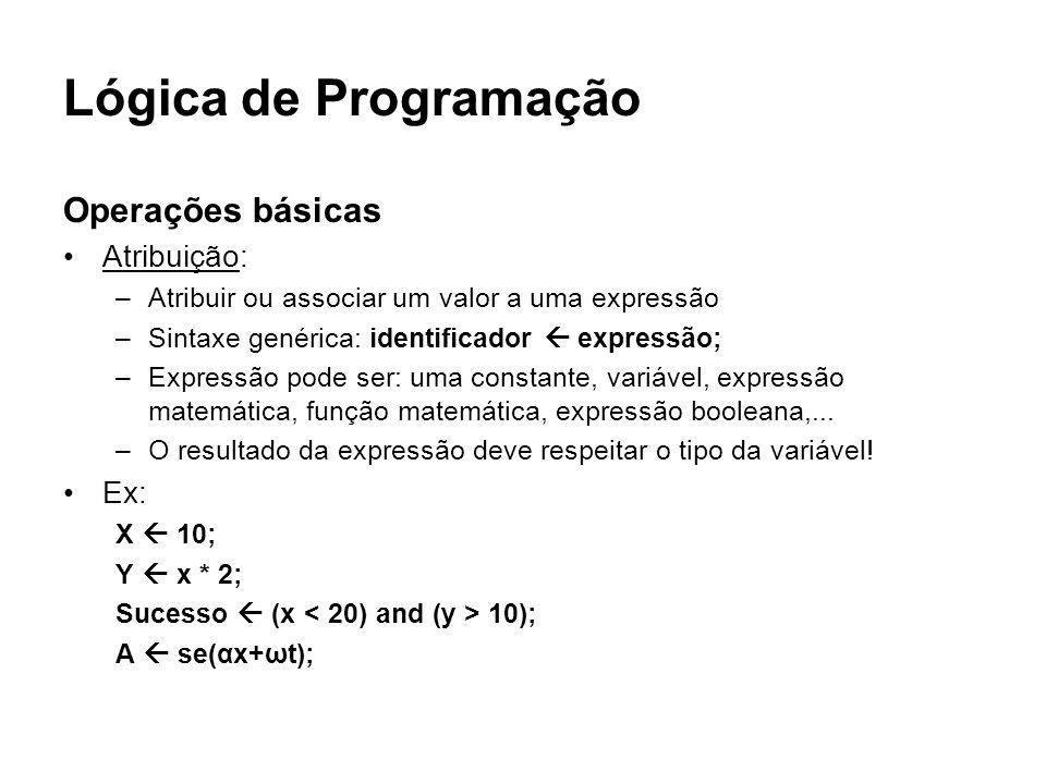Lógica de Programação Operações básicas Atribuição: –Atribuir ou associar um valor a uma expressão –Sintaxe genérica: identificador expressão; –Expres