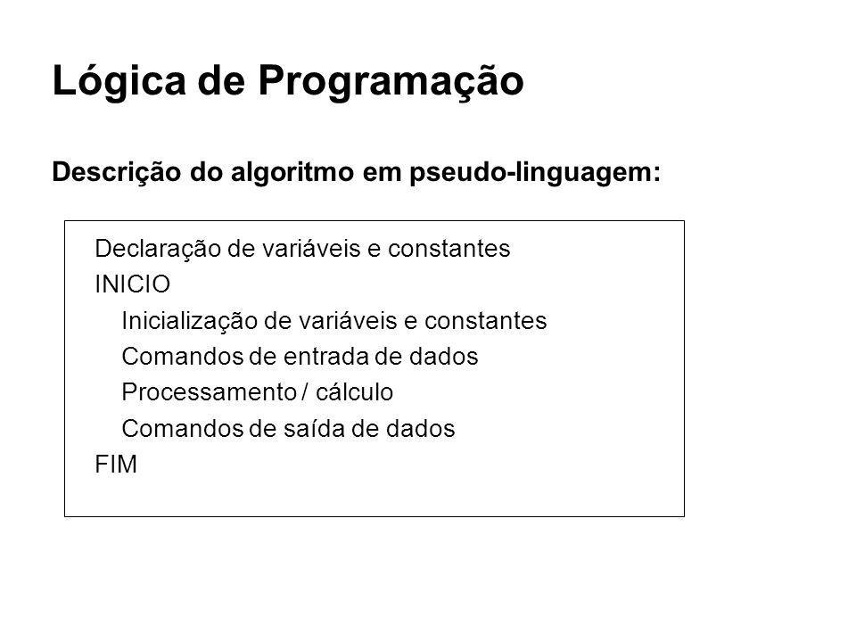 Lógica de Programação Descrição do algoritmo em pseudo-linguagem: Declaração de variáveis e constantes INICIO Inicialização de variáveis e constantes