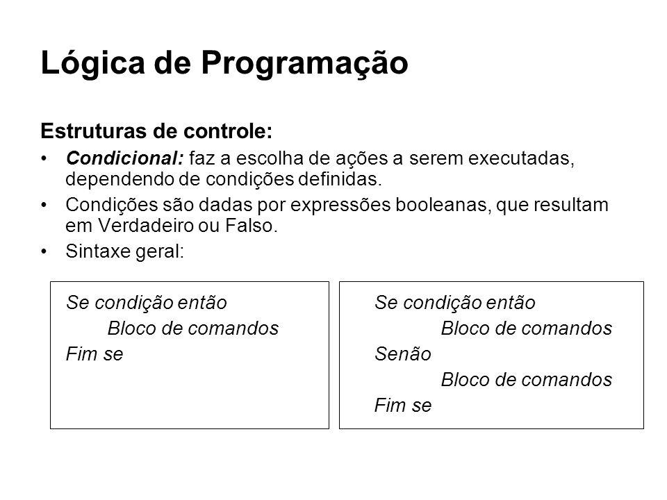 Lógica de Programação Estruturas de controle: Condicional: faz a escolha de ações a serem executadas, dependendo de condições definidas. Condições são