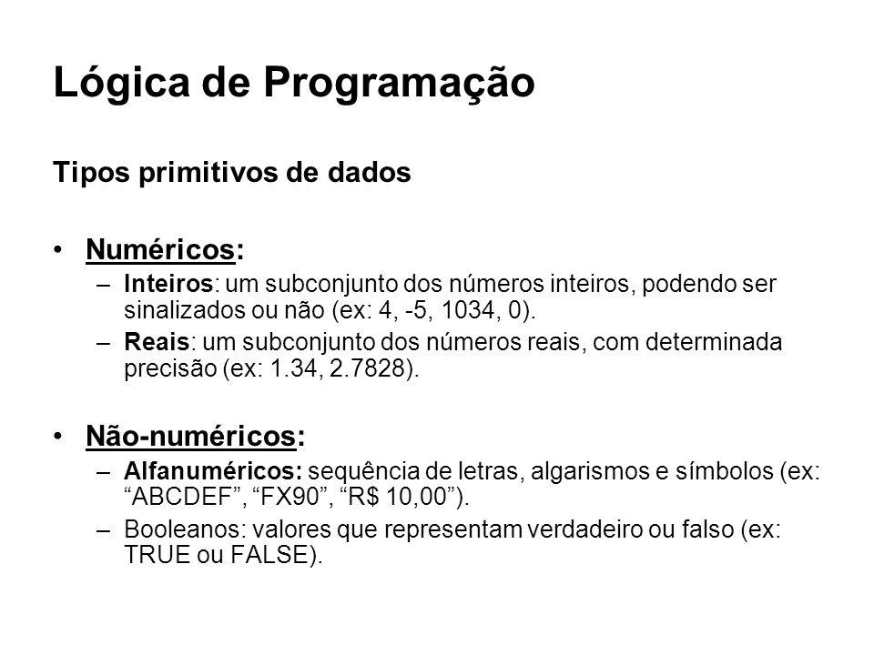Lógica de Programação Tipos primitivos de dados Numéricos: –Inteiros: um subconjunto dos números inteiros, podendo ser sinalizados ou não (ex: 4, -5,