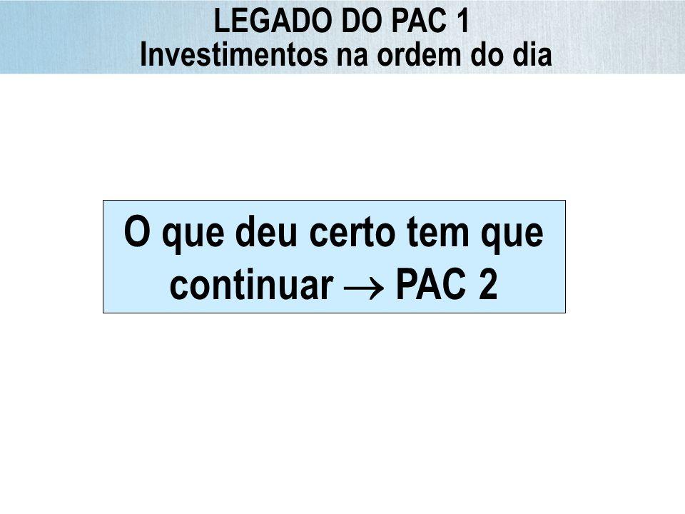 O que deu certo tem que continuar PAC 2 LEGADO DO PAC 1 Investimentos na ordem do dia