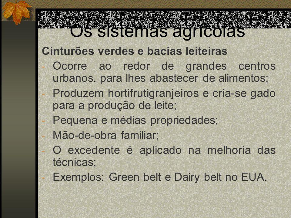 Os sistemas agrícolas Cinturões verdes e bacias leiteiras - Ocorre ao redor de grandes centros urbanos, para lhes abastecer de alimentos; - Produzem h