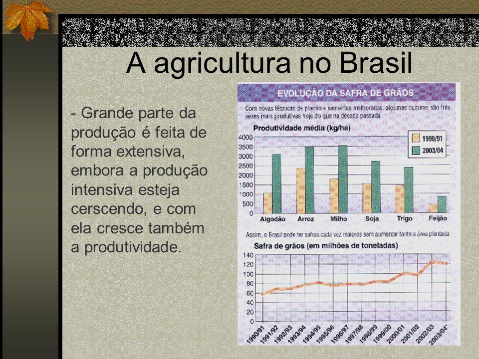 A agricultura no Brasil - Grande parte da produção é feita de forma extensiva, embora a produção intensiva esteja cerscendo, e com ela cresce também a