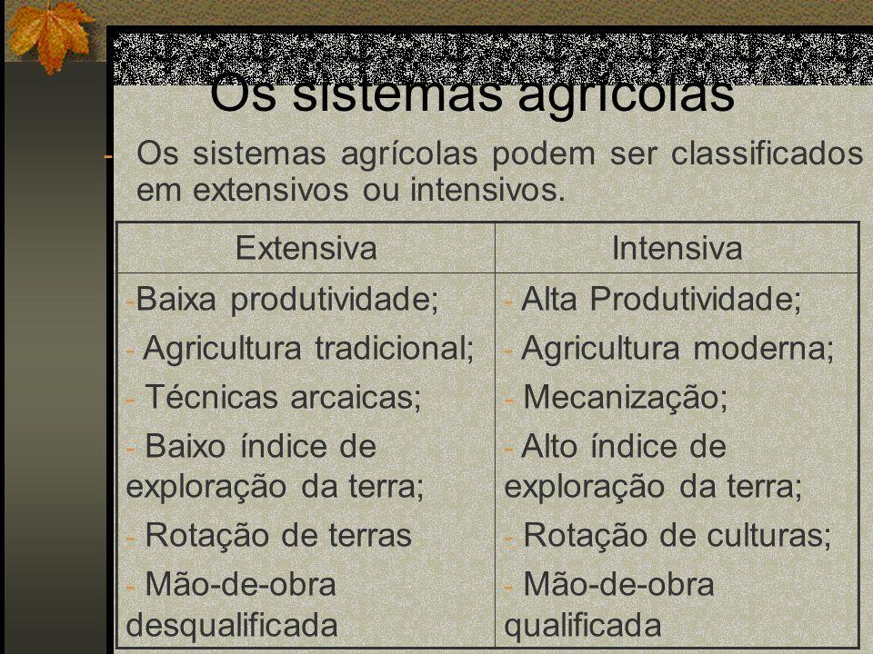 A agricultura no Brasil - Grande parte da produção é feita de forma extensiva, embora a produção intensiva esteja cerscendo, e com ela cresce também a produtividade.