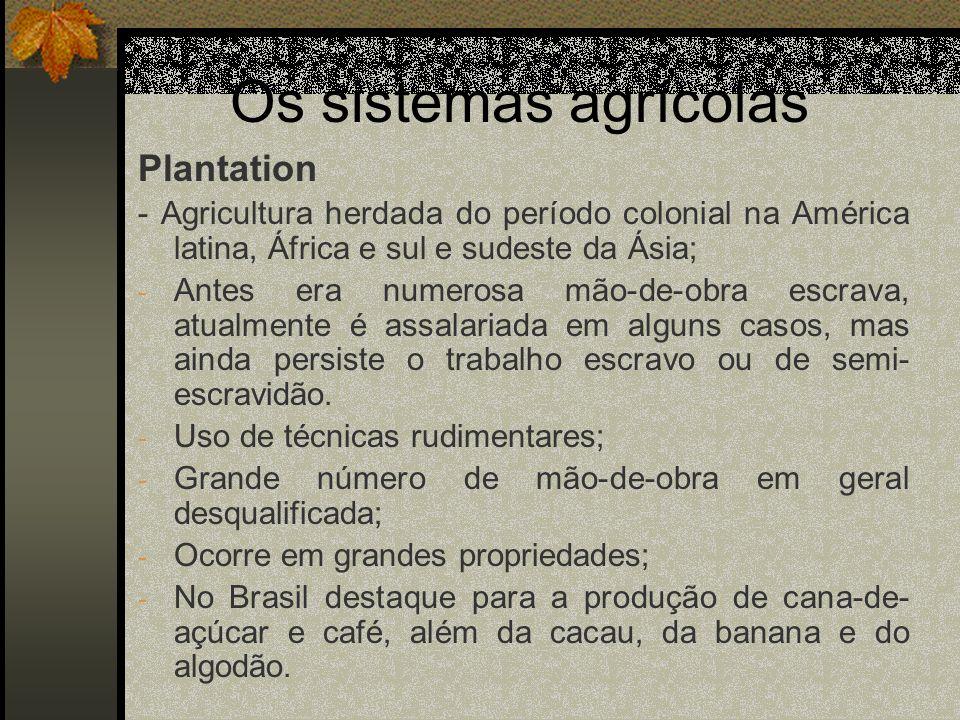 Os sistemas agrícolas Plantation - Agricultura herdada do período colonial na América latina, África e sul e sudeste da Ásia; - Antes era numerosa mão