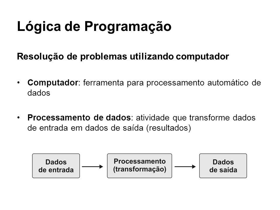 Lógica de Programação Etapas para a resolução de problemas: i)Entendimento do problema ii)Modelagem do problema em uma sequência de operações que, quando executadas, fornecem sua solução iii)Execução desta sequência de operações iv)Verificação da adequação da solução Obs: etapas i), ii) e iv) feitas por pessoas, e etapa iii) feita por computadores.