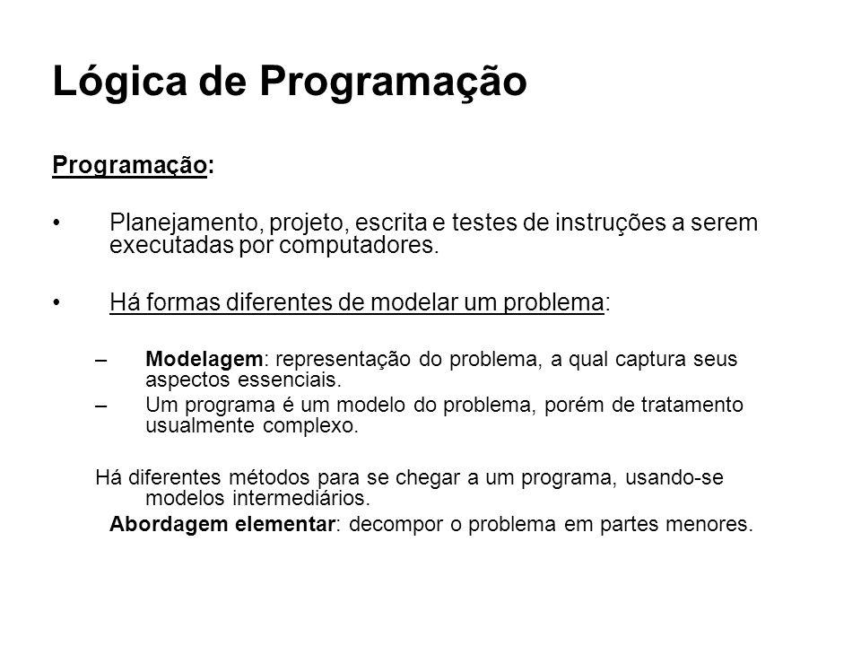 Lógica de Programação Programação: Planejamento, projeto, escrita e testes de instruções a serem executadas por computadores. Há formas diferentes de
