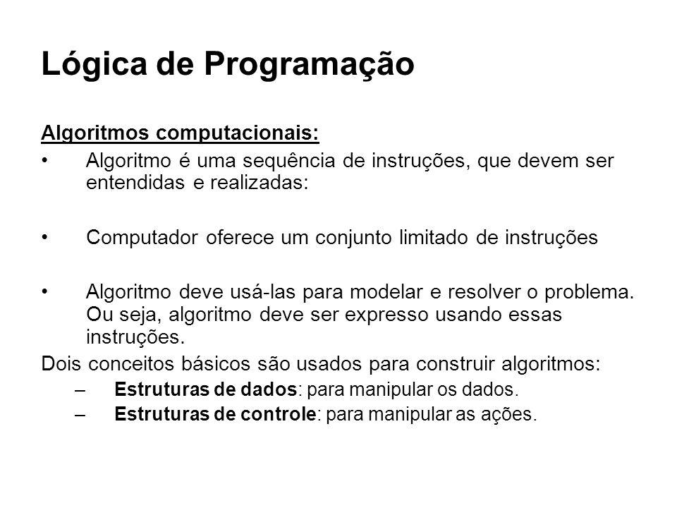 Lógica de Programação Algoritmos computacionais: Algoritmo é uma sequência de instruções, que devem ser entendidas e realizadas: Computador oferece um