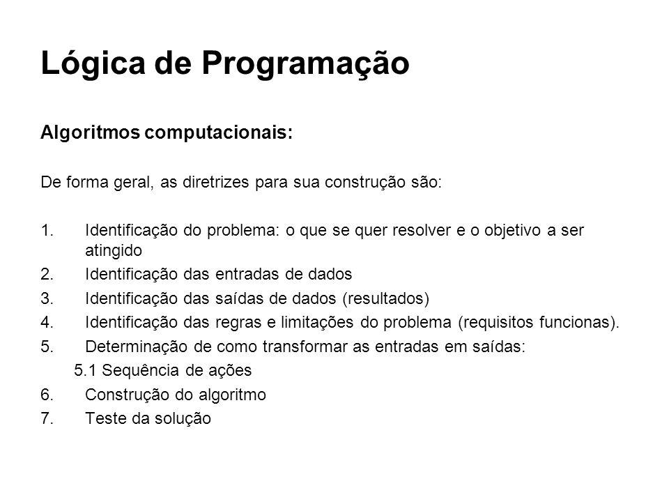 Lógica de Programação Algoritmos computacionais: De forma geral, as diretrizes para sua construção são: 1.Identificação do problema: o que se quer res
