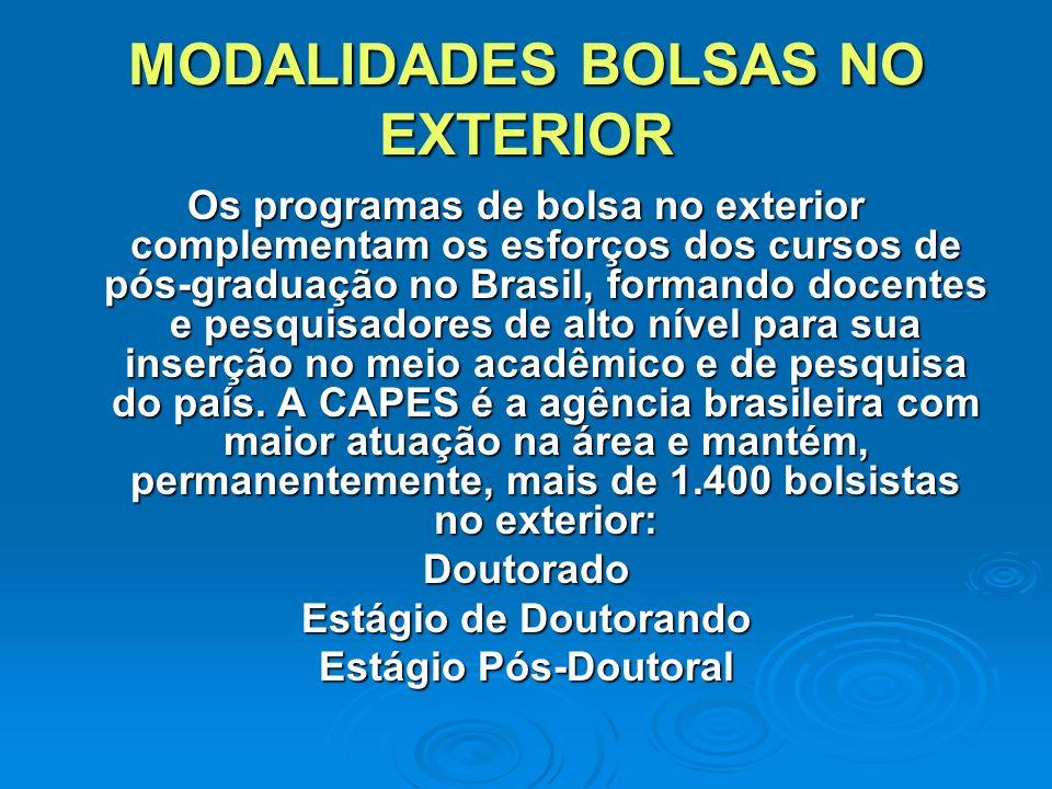 MODALIDADES BOLSAS NO EXTERIOR Os programas de bolsa no exterior complementam os esforços dos cursos de pós-graduação no Brasil, formando docentes e pesquisadores de alto nível para sua inserção no meio acadêmico e de pesquisa do país.