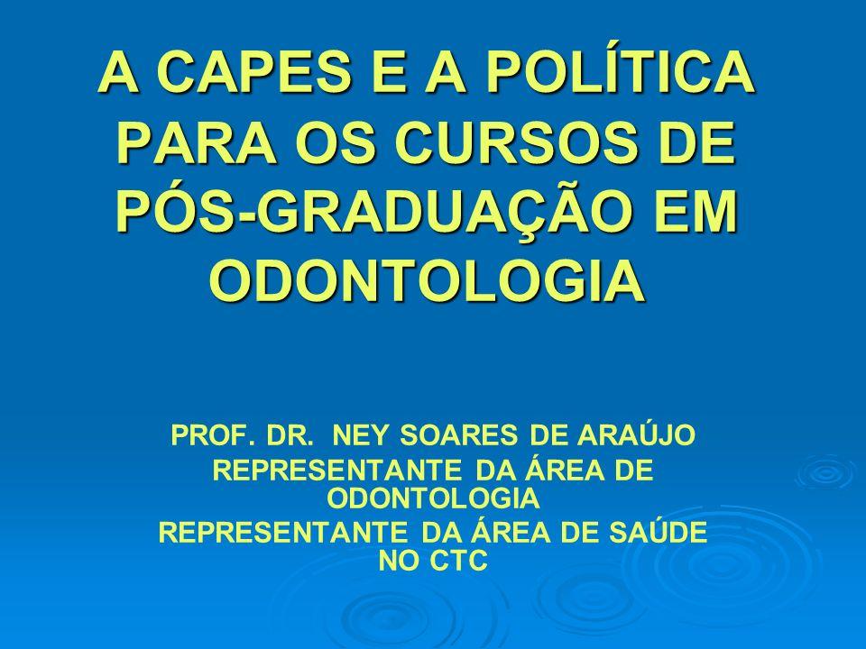 A CAPES E A POLÍTICA PARA OS CURSOS DE PÓS-GRADUAÇÃO EM ODONTOLOGIA PROF.