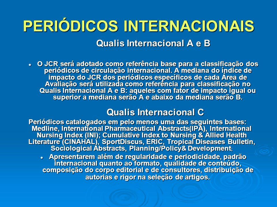 PERIÓDICOS INTERNACIONAIS Qualis Internacional A e B Qualis Internacional A e B O JCR será adotado como referência base para a classificação dos periódicos de circulação internacional.