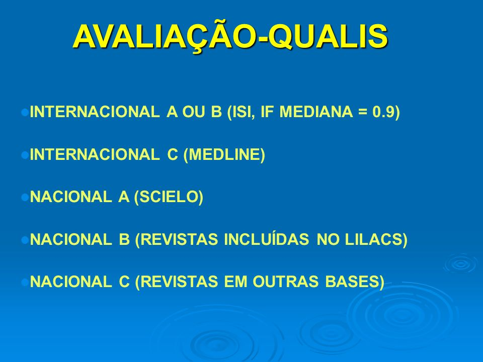 AVALIAÇÃO-QUALIS INTERNACIONAL A OU B (ISI, IF MEDIANA = 0.9) INTERNACIONAL C (MEDLINE) NACIONAL A (SCIELO) NACIONAL B (REVISTAS INCLUÍDAS NO LILACS) NACIONAL C (REVISTAS EM OUTRAS BASES)