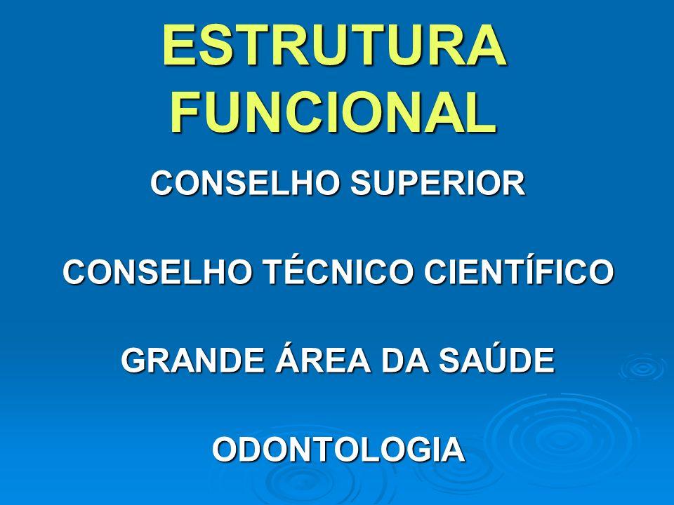 ESTRUTURA FUNCIONAL CONSELHO SUPERIOR CONSELHO TÉCNICO CIENTÍFICO GRANDE ÁREA DA SAÚDE ODONTOLOGIA