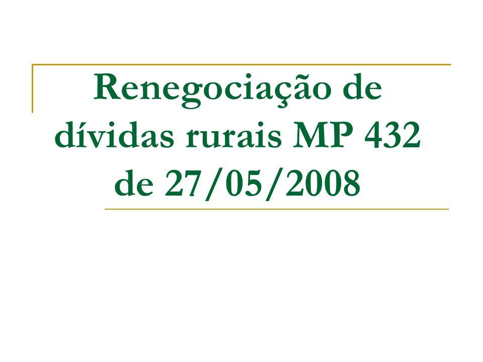 Renegociação de dívidas rurais MP 432 de 27/05/2008