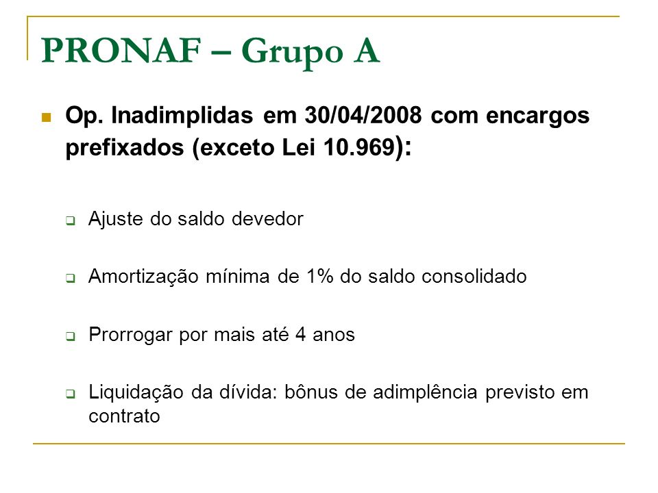 PRONAF – Grupo A Op. Inadimplidas em 30/04/2008 com encargos prefixados (exceto Lei 10.969 ): Ajuste do saldo devedor Amortização mínima de 1% do sald