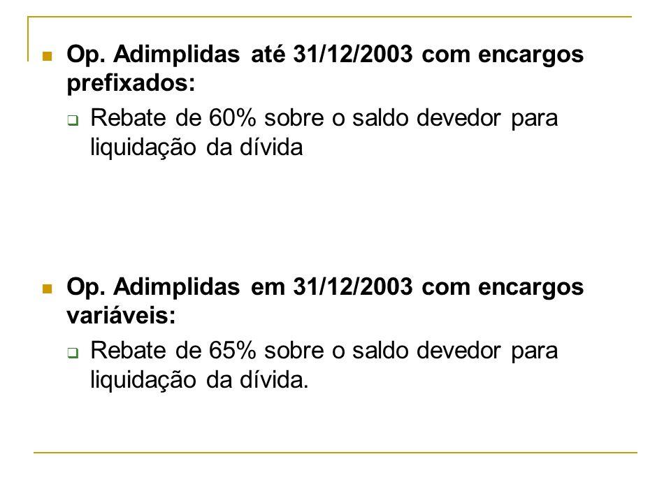 Op. Adimplidas até 31/12/2003 com encargos prefixados: Rebate de 60% sobre o saldo devedor para liquidação da dívida Op. Adimplidas em 31/12/2003 com