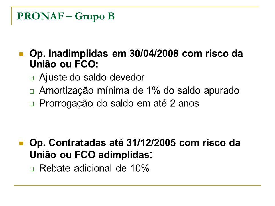 PRONAF – Grupo B Op. Inadimplidas em 30/04/2008 com risco da União ou FCO: Ajuste do saldo devedor Amortização mínima de 1% do saldo apurado Prorrogaç
