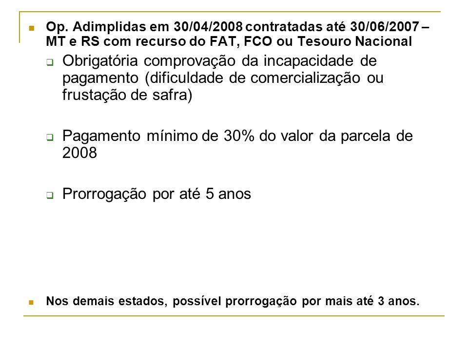 Op. Adimplidas em 30/04/2008 contratadas até 30/06/2007 – MT e RS com recurso do FAT, FCO ou Tesouro Nacional Obrigatória comprovação da incapacidade