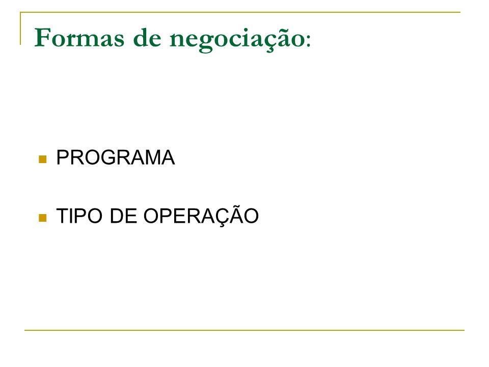 Formas de negociação: PROGRAMA TIPO DE OPERAÇÃO