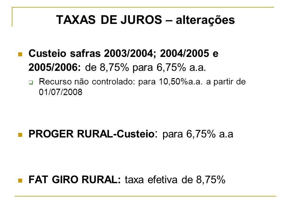 TAXAS DE JUROS – alterações Custeio safras 2003/2004; 2004/2005 e 2005/2006: de 8,75% para 6,75% a.a. Recurso não controlado: para 10,50%a.a. a partir