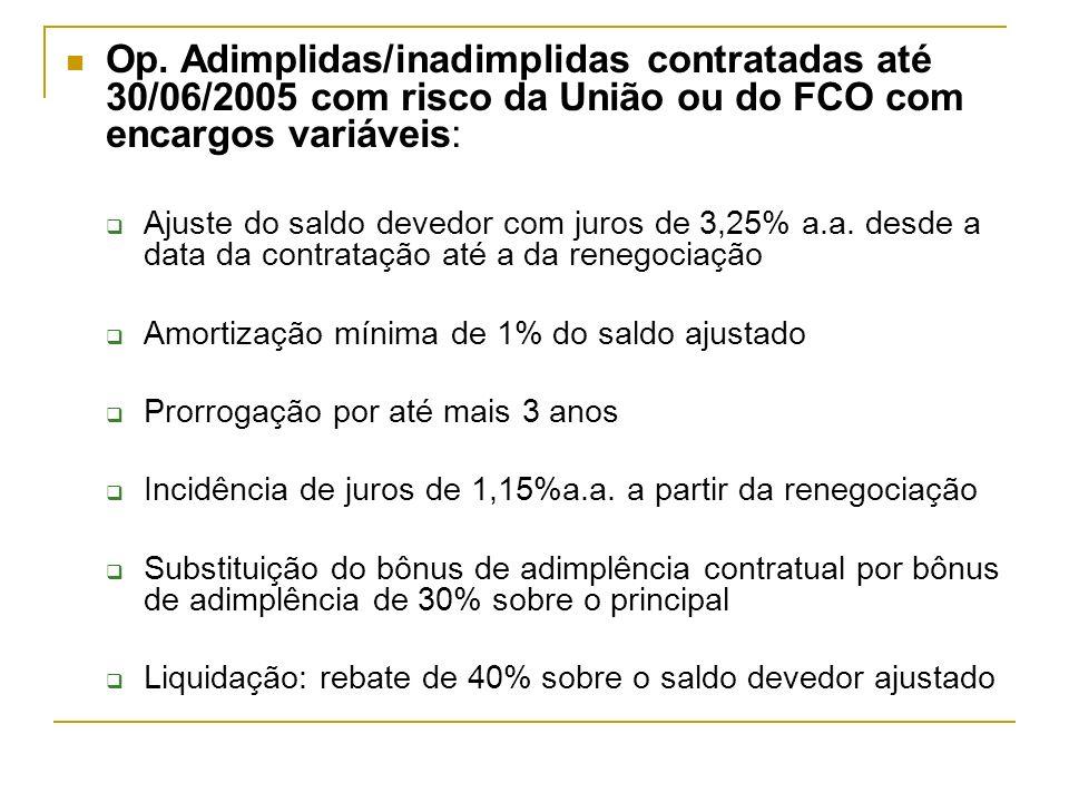 Op. Adimplidas/inadimplidas contratadas até 30/06/2005 com risco da União ou do FCO com encargos variáveis: Ajuste do saldo devedor com juros de 3,25%