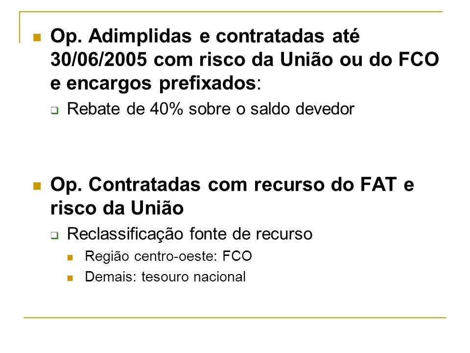Op. Adimplidas e contratadas até 30/06/2005 com risco da União ou do FCO e encargos prefixados: Rebate de 40% sobre o saldo devedor Op. Contratadas co