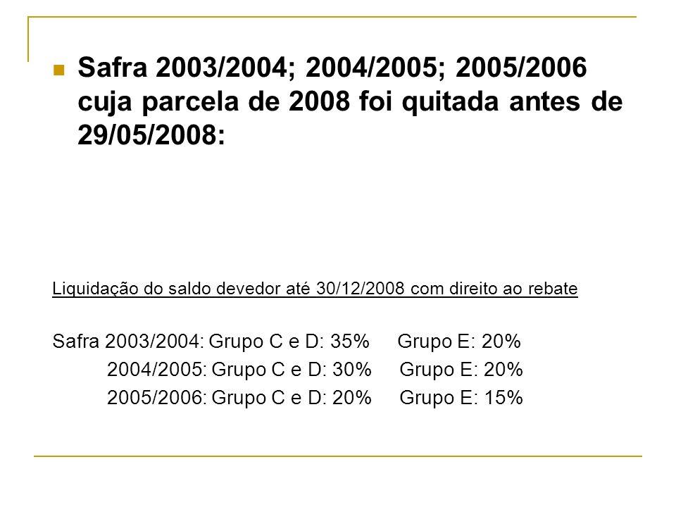 Safra 2003/2004; 2004/2005; 2005/2006 cuja parcela de 2008 foi quitada antes de 29/05/2008: Liquidação do saldo devedor até 30/12/2008 com direito ao