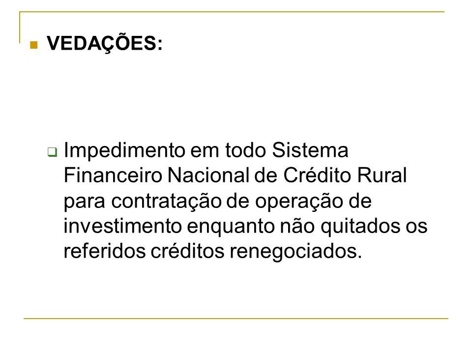 VEDAÇÕES: Impedimento em todo Sistema Financeiro Nacional de Crédito Rural para contratação de operação de investimento enquanto não quitados os refer