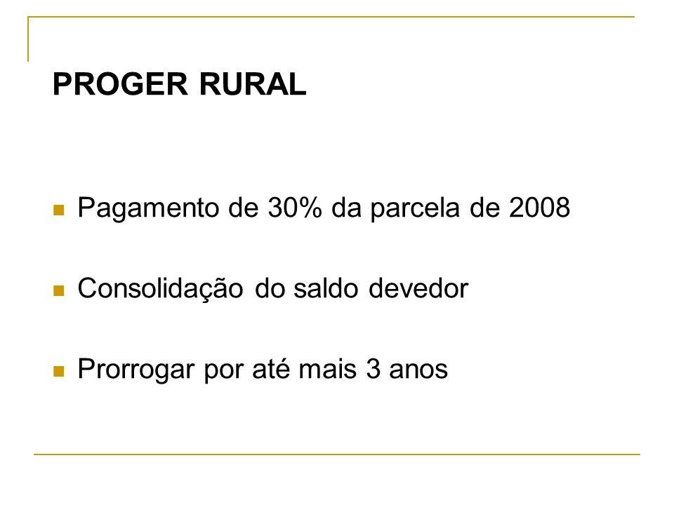 PROGER RURAL Pagamento de 30% da parcela de 2008 Consolidação do saldo devedor Prorrogar por até mais 3 anos