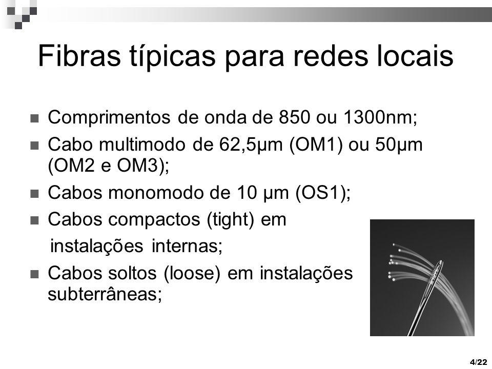 4/22 Fibras típicas para redes locais Comprimentos de onda de 850 ou 1300nm; Cabo multimodo de 62,5µm (OM1) ou 50µm (OM2 e OM3); Cabos monomodo de 10 µm (OS1); Cabos compactos (tight) em instalações internas; Cabos soltos (loose) em instalações subterrâneas;