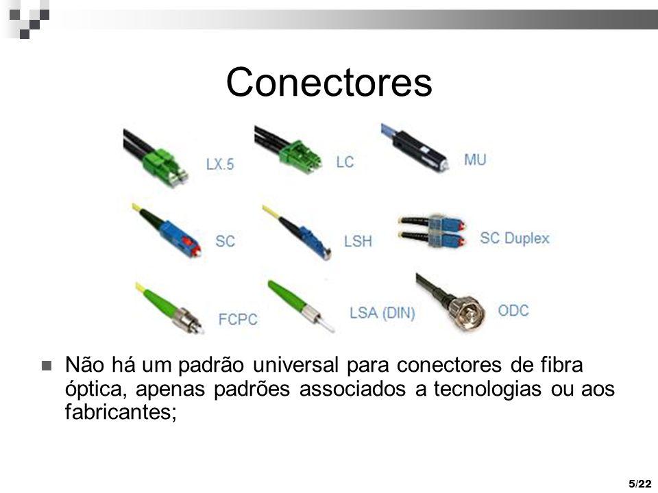 5/22 Conectores Não há um padrão universal para conectores de fibra óptica, apenas padrões associados a tecnologias ou aos fabricantes;