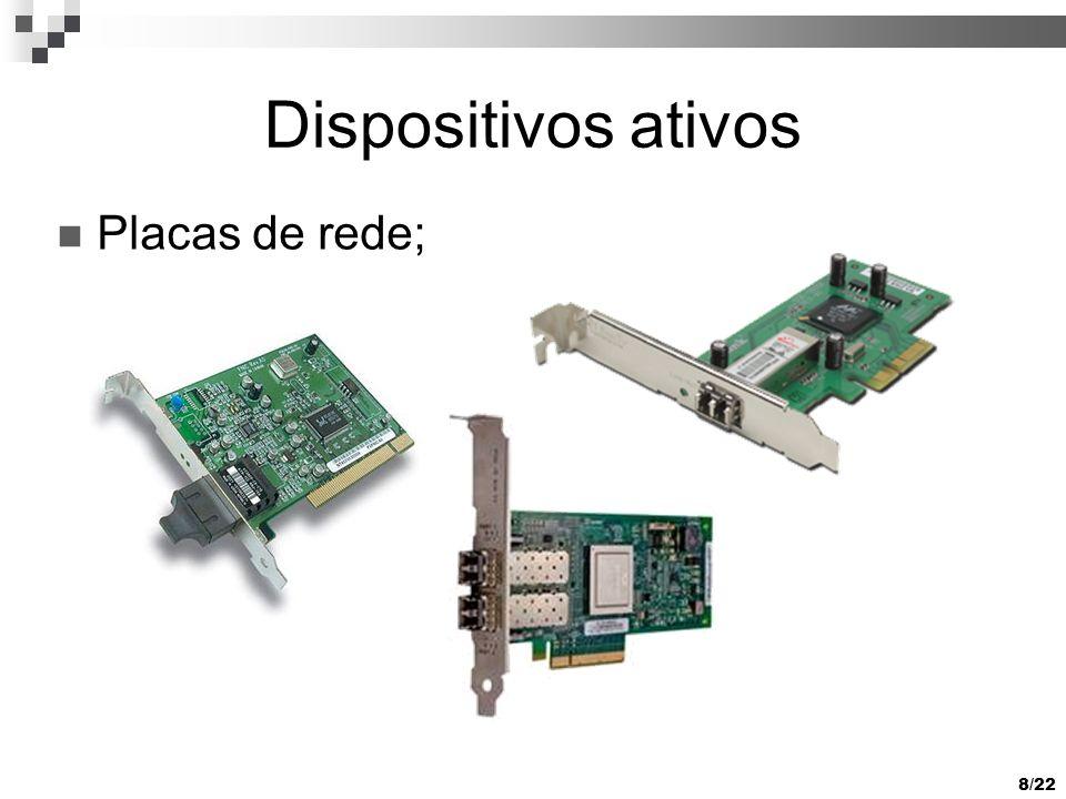 8/22 Dispositivos ativos Placas de rede;