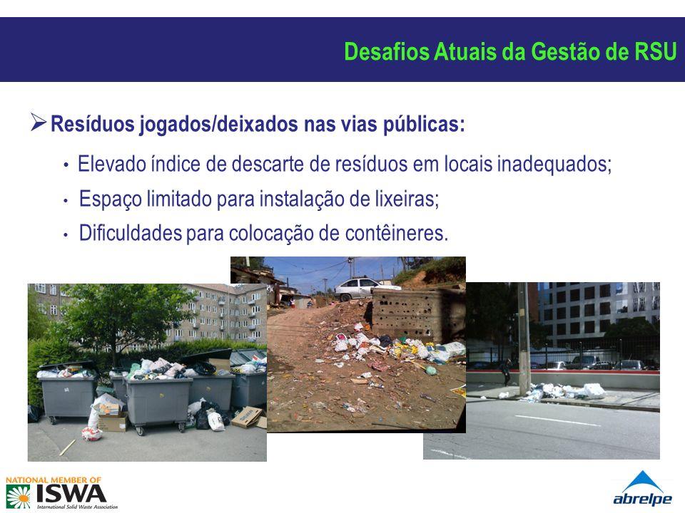 Resíduos jogados/deixados nas vias públicas: Elevado índice de descarte de resíduos em locais inadequados; Espaço limitado para instalação de lixeiras; Dificuldades para colocação de contêineres.