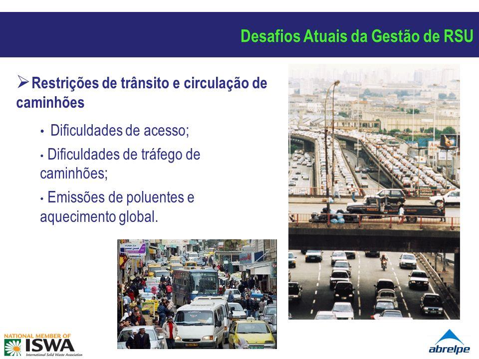 Restrições de trânsito e circulação de caminhões Dificuldades de acesso; Dificuldades de tráfego de caminhões; Emissões de poluentes e aquecimento global.