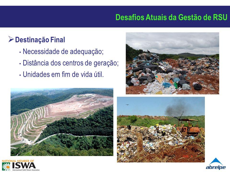 Destinação Final Necessidade de adequação; Distância dos centros de geração; Unidades em fim de vida útil.