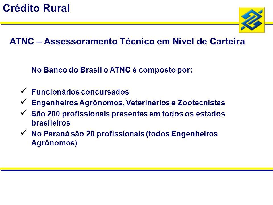 No Banco do Brasil o ATNC é composto por: Funcionários concursados Engenheiros Agrônomos, Veterinários e Zootecnistas São 200 profissionais presentes