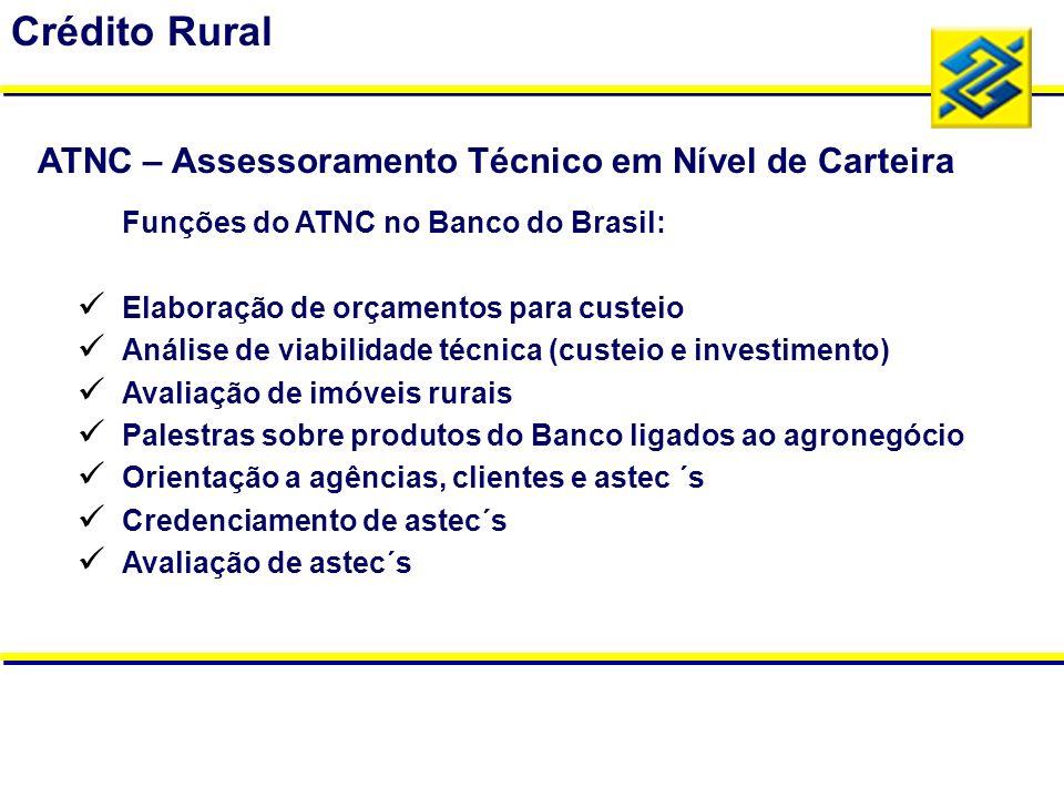 Funções do ATNC no Banco do Brasil: Elaboração de orçamentos para custeio Análise de viabilidade técnica (custeio e investimento) Avaliação de imóveis