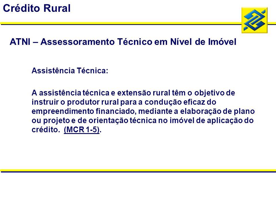 Assistência Técnica: A assistência técnica e extensão rural têm o objetivo de instruir o produtor rural para a condução eficaz do empreendimento finan
