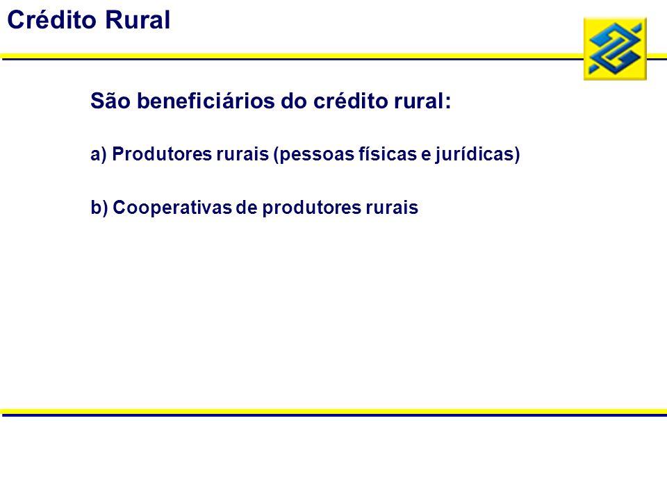 a) Produtores rurais (pessoas físicas e jurídicas) b) Cooperativas de produtores rurais Crédito Rural São beneficiários do crédito rural: